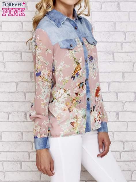 Różowa koszula w kwiaty ze wstawkami z denimu                                  zdj.                                  3
