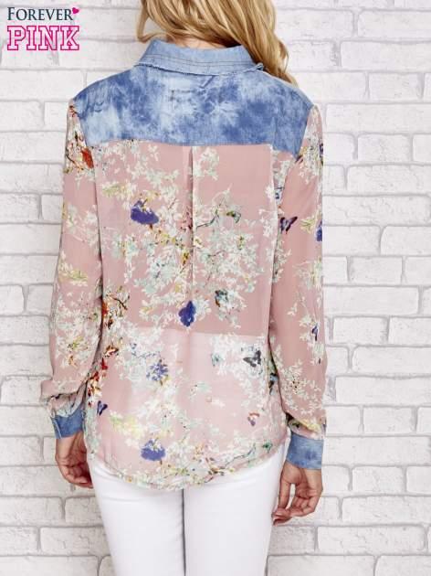 Różowa koszula w kwiaty ze wstawkami z denimu                                  zdj.                                  2