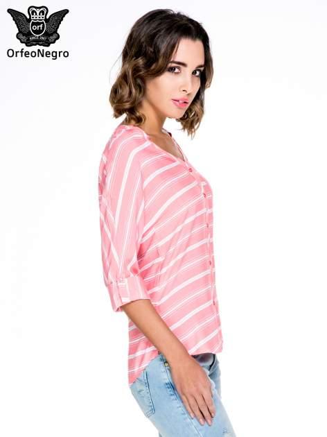 Różowa koszula w paski z rękawem 3/4                                  zdj.                                  5