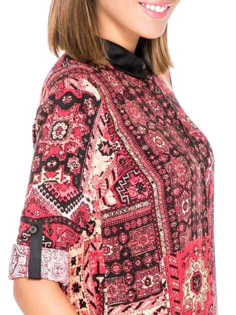 Różowa koszula we wzór etno z czarnym kołnierzykiem i mankietami                                  zdj.                                  6