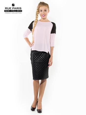 Różowa koszula z czarnymi wstawkami na ramionach i rękawem 3/4                                  zdj.                                  3