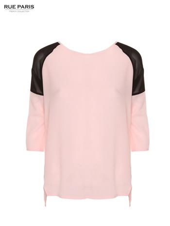 Różowa koszula z czarnymi wstawkami na ramionach i rękawem 3/4                                  zdj.                                  1