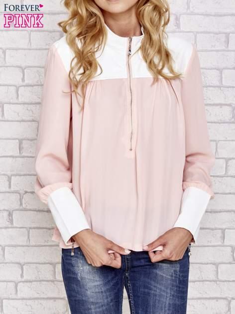 Różowa koszula ze skórzanymi pikowanymi wstawkami                                  zdj.                                  1