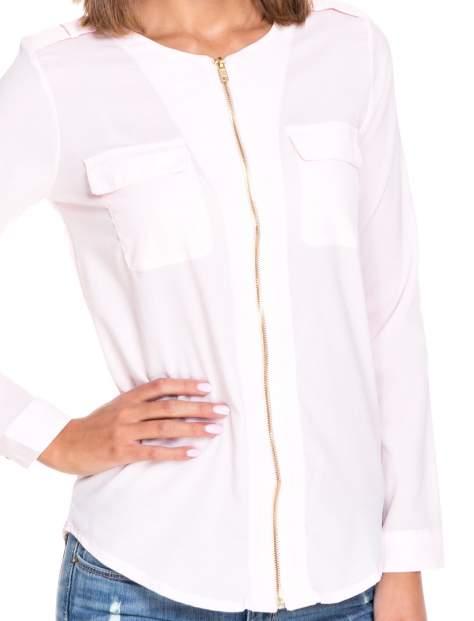 Różowa koszula ze złotym suwakiem i kieszonkami                                  zdj.                                  7