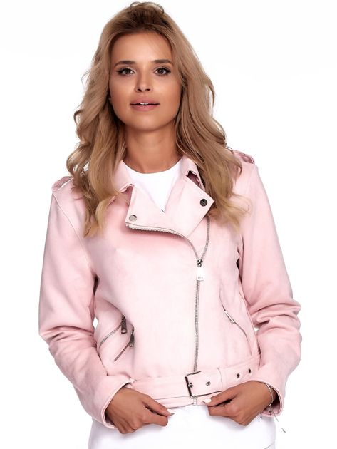 Różowa kurtka ramoneska damska                              zdj.                              1
