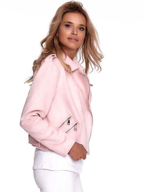 Różowa kurtka ramoneska damska                              zdj.                              6
