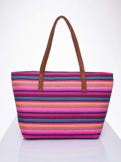 Różowa plażowa torba w paski ze skórzaną rączką