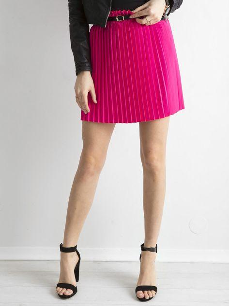 Różowa plisowana spódnica z paskiem                              zdj.                              5