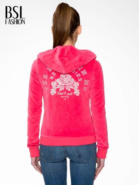 Różowa pluszowa bluza z kapturem zasuwana na suwak                                  zdj.                                  4