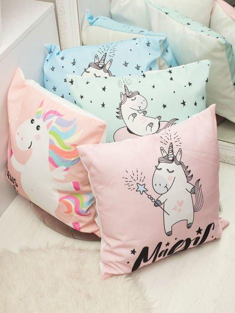 Różowa poduszka dekoracyjna z jednorożcem                              zdj.                              2