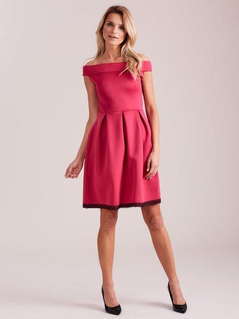 Różowa rozkloszowana sukienka z pianki                              zdj.                              4