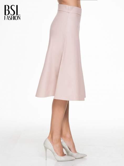 Różowa skórzana spódnica midi szyta z półkola                                  zdj.                                  3