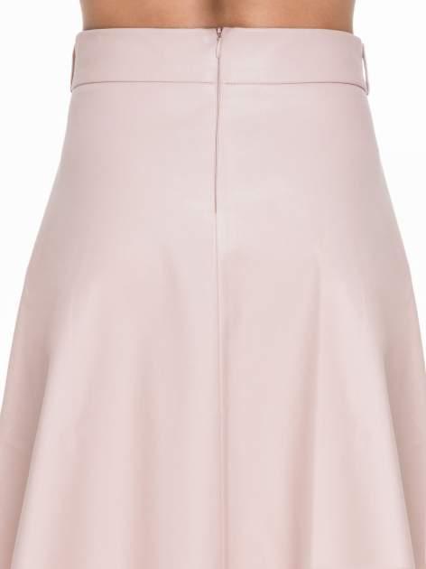 Różowa skórzana spódnica midi szyta z półkola                                  zdj.                                  6