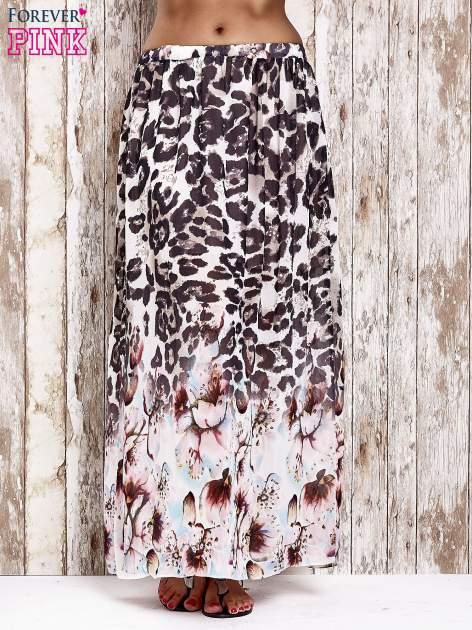 Różowa spódnica maxi we wzór panterkowokwiatowy                                  zdj.                                  1