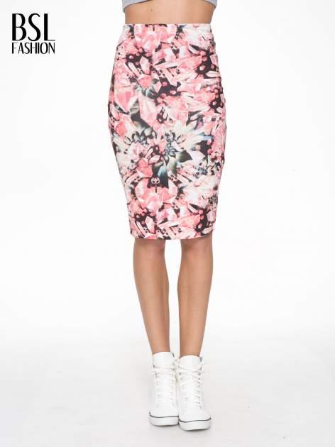 Różowa spódnica ołówkowa z nadrukiem diamond print                                  zdj.                                  1