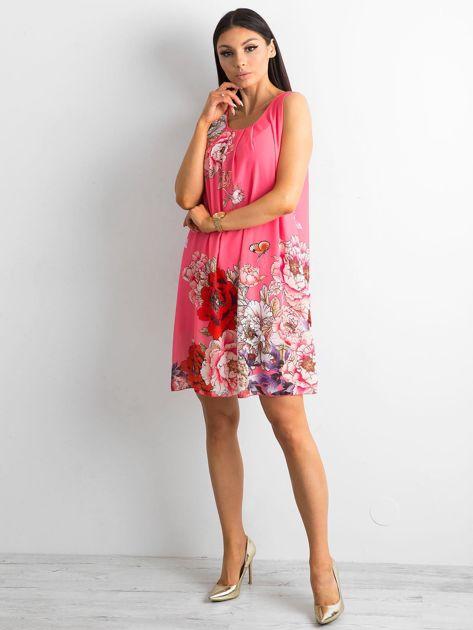 Różowa sukienka damska w kwiaty                              zdj.                              4
