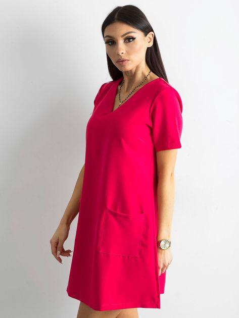 Różowa sukienka damska z kieszeniami                               zdj.                              3