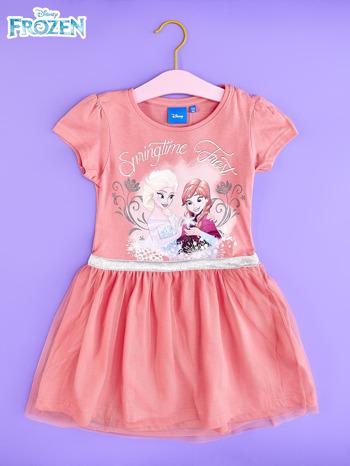 Różowa sukienka dla dziewczynki z tiulowym wykończeniem FROZEN                                  zdj.                                  1