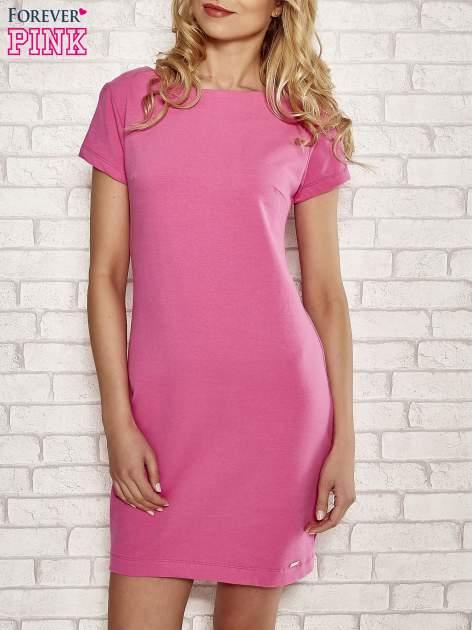 Różowa sukienka dresowa o prostym kroju                                  zdj.                                  1