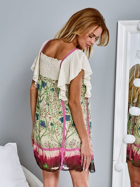 Różowa sukienka letnia mgiełka w kwiaty                                  zdj.                                  2