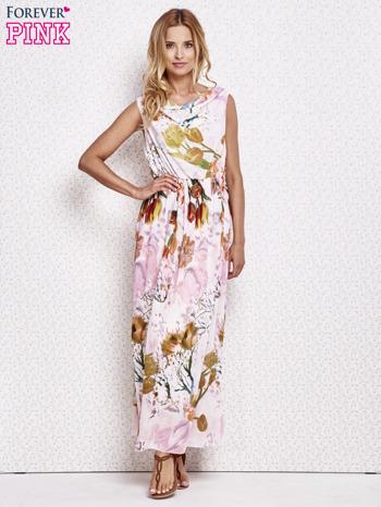 Różowa sukienka maxi w kwiaty                                  zdj.                                  4