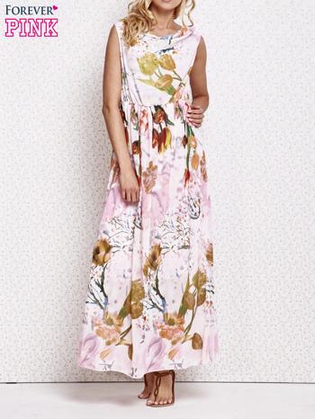 Różowa sukienka maxi w kwiaty                                  zdj.                                  1