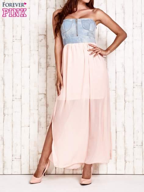 Różowa sukienka maxi z gorsetem z denimu