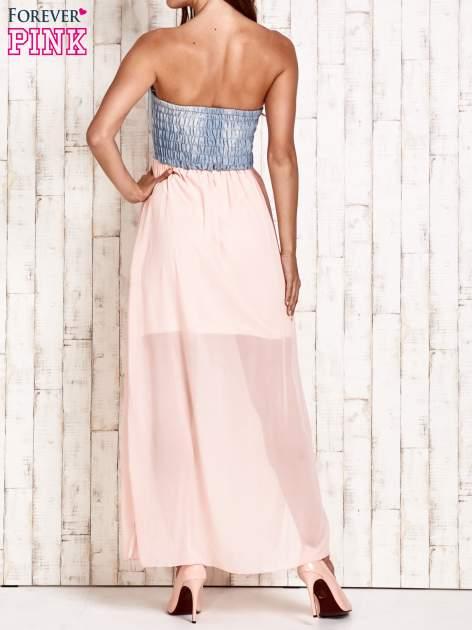 Różowa sukienka maxi z gorsetem z denimu                                  zdj.                                  4
