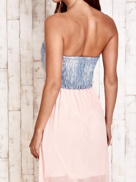 Różowa sukienka maxi z gorsetem z denimu                                  zdj.                                  5
