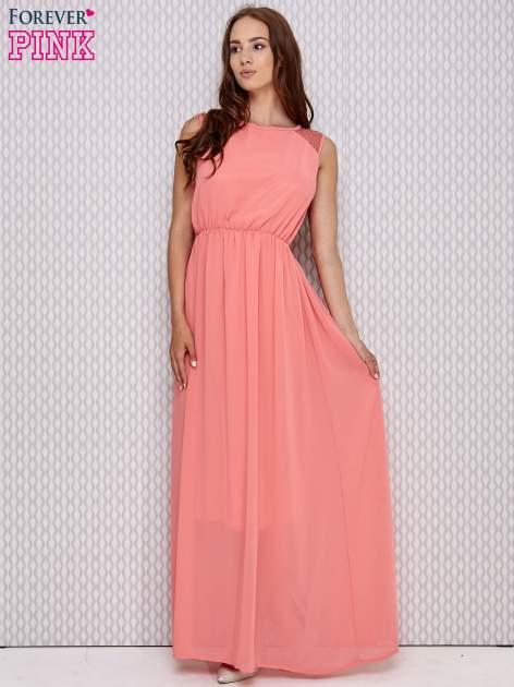 Różowa sukienka maxi z koronkowym tyłem                                  zdj.                                  2