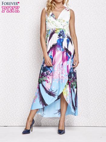 Różowa sukienka maxi z trójkątnym dekoltem                                  zdj.                                  1