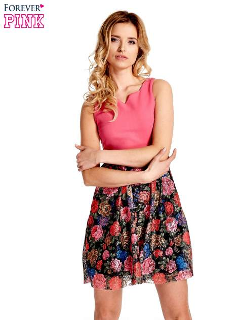 Różowa sukienka z kwiatowym dołem                                  zdj.                                  1