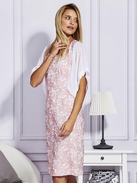 Różowa sukienka z luźnymi rękawami                                   zdj.                                  3