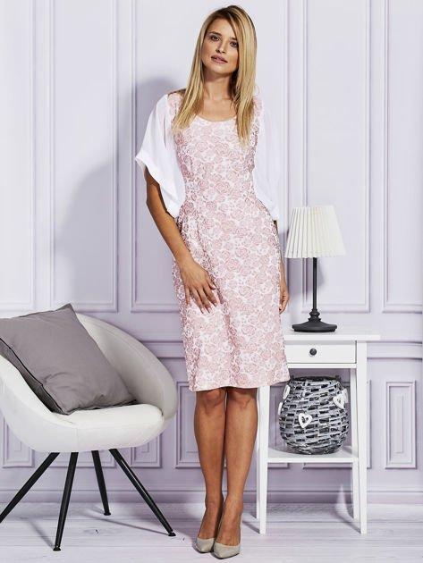 Różowa sukienka z luźnymi rękawami                                   zdj.                                  4