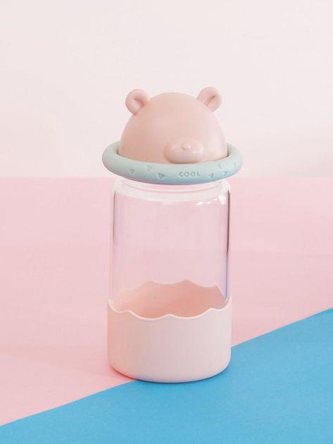 Różowa szklana butelka na napój                               zdj.                              3