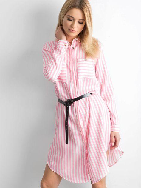 Różowa szmizjerka koszulowa w paski                              zdj.                              1