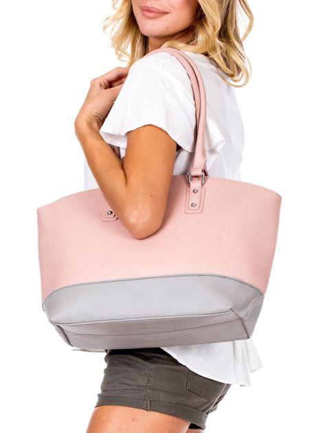 Różowa torba damska two tone                              zdj.                              4