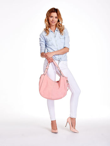 Różowa torba hobo z klamerkami                                  zdj.                                  3