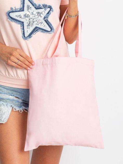 Różowa torba materiałowa z nadrukiem                              zdj.                              2