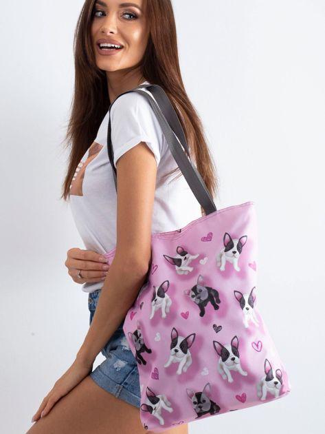 Różowa torba na ramię z nadrukiem