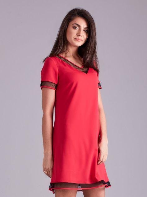 Różowa trapezowa sukienka                              zdj.                              3