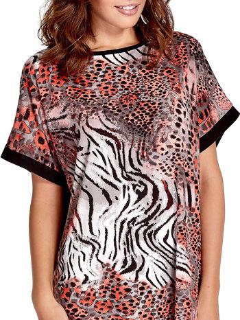 Różowa tunika z tygrysim nadrukiem                                  zdj.                                  5