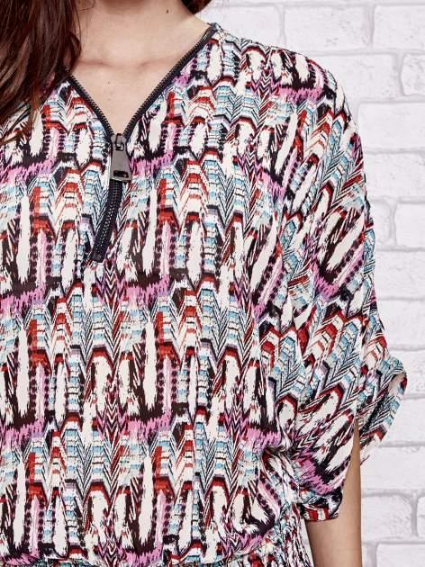 Różowa wzorzysta koszula nietoperz z suwakiem                                  zdj.                                  5
