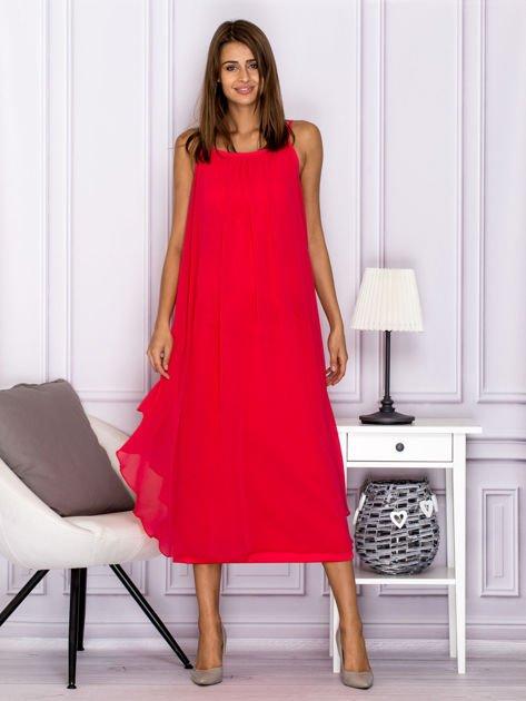 Różowa zwiewna sukienka maxi                              zdj.                              4