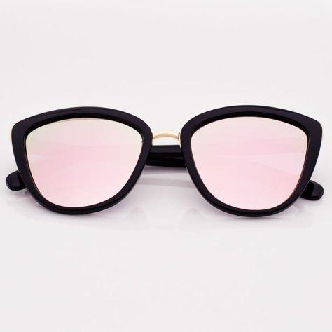 Różowe Lustrzane Damskie Okulary przeciwsłoneczne CAT EYE                              zdj.                              1