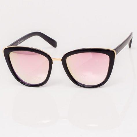 Różowe Lustrzane Damskie Okulary przeciwsłoneczne CAT EYE                              zdj.                              2
