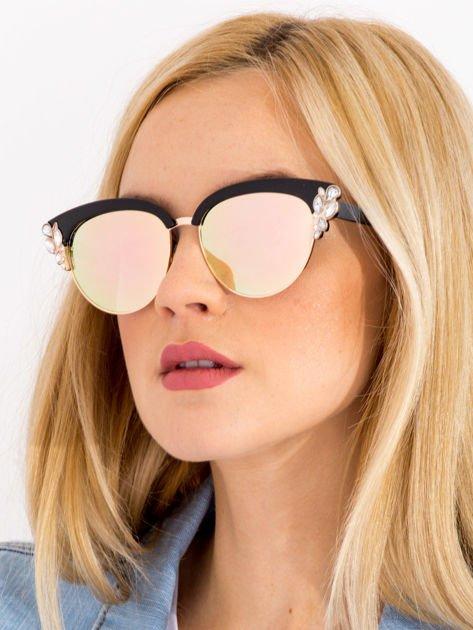 Różowe Lustrzane Okulary przeciwsłoneczne z Kryształami                              zdj.                              2