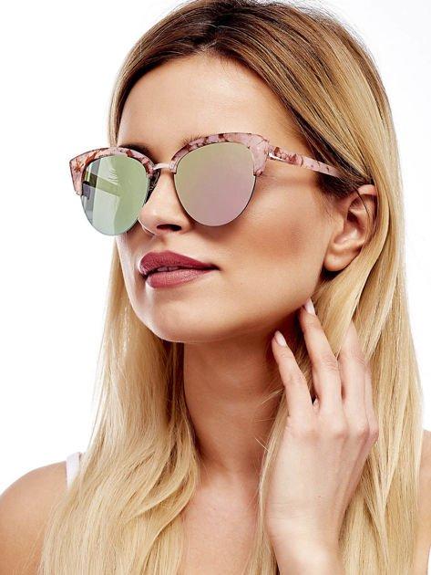 Różowe Marmurkowe Okulary Przeciwsłoneczne KOCIE OCZY                              zdj.                              1