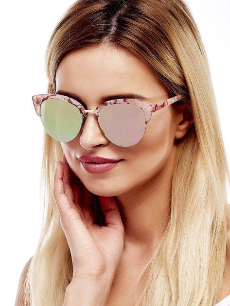 Różowe Marmurkowe Okulary Przeciwsłoneczne KOCIE OCZY                              zdj.                              3