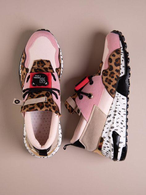 Różowe buty sportowe na podwyższeniu z kolorową podeszwą i motywem w panterkę                              zdj.                              1